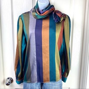 Vintage 80's Scarf Neck Color Block Stripe Blouse